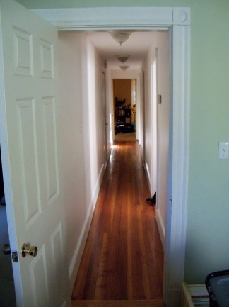 Photograph of the hallway in our new Jamaica Plain apartment (May 2014)