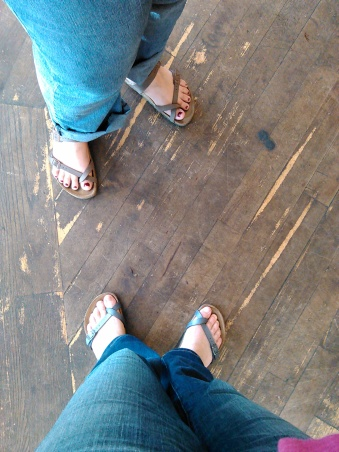Feet selfies at City Feed and Supply, Jamaica Plain.